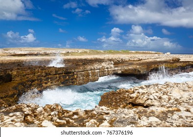 Devils Bridge in the northeast of Antigua where the waves of the Atlantic have eroded a natural arch.