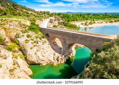 Devil's Bridge on the Hérault River in Occitania, France