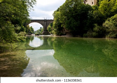 The devil's bridge over the natisone river in cividale del friuli in Italy. unesco heritage.