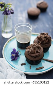 Devil's food cupcakes with chocolate sprinkles