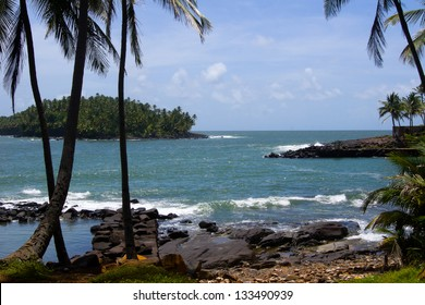 Devil's island in French Guiana. The island was used as a penal colony from 1852.  The French government stopped sending prisoners to Devil's Island in 1946/French Guiana Devils island