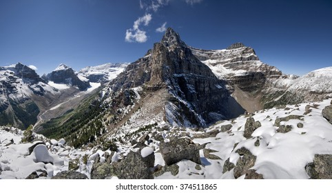 Devil's Thumb Hike, Scramble Mount Lefroy (left), Mount Victoria, Mount White (center), Mount Niblock (right) Lake Louise, Banff National Park, Alberta, Canada Picture taken on August 22, 2015