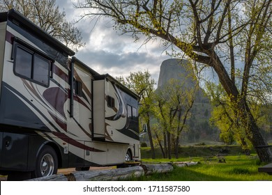 Devils Tower NM, Wyoming, May 31, 2019: Enjoying the captivated view from our RV
