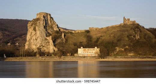 Devin castle, Bratislava. Old ruin on Danube river in Slovakia near Austria