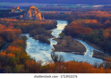 Devin castle in orange sunset, Slovakia