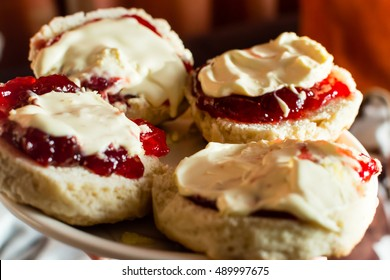 Devon Cream Tea, Scones with Jam and Clotted Cream, Shallow Depth of Field Close up horizontal photography