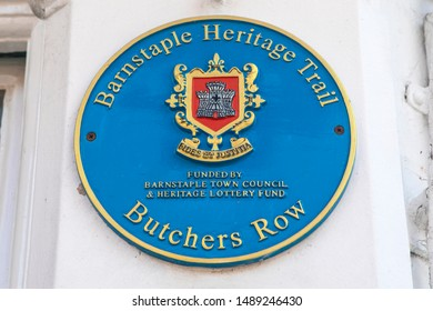Devon, UK - August 1st 2019: A blue plaque marking the location of the historic Butchers Row in the town of Barnstaple in Devon, UK.