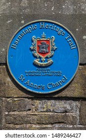 Devon, UK - August 2nd 2019: A blue plaque marking the location of the historic St Annes Chapel in the town of Barnstaple in Devon, UK.