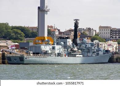 DEVONPORT, DEVON, UK – JULY 14, 2014: Royal Navy Duke Class Frigate HMS Montrose F236 moored at HM Naval Base Devonport.