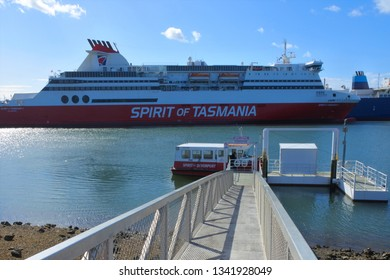 DEVONPORT, TAS - MAR 12 2019:MS Spirit of Tasmania II in Port of Devonport Tasmania.It's a super fast ropax ferry operated on the route between Melbourne and Devonport Tasmania.