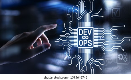 Devops Agile development and optimisation concept on virtual screen.