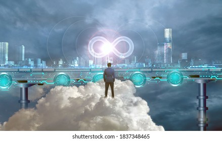 DevOps Concept, building blocks of DevOps represented through a modern virtual city, a business man monitoring end to end process with business benefits