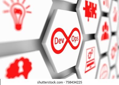 DevOps concept cell blurred background 3d illustration