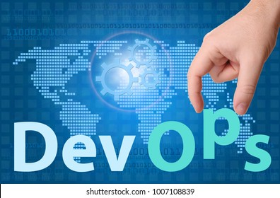 DevOps (Development & Operations) concept sign with hand