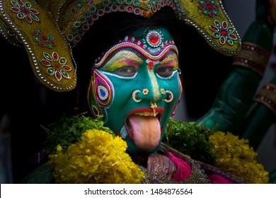 A Devotee performs for Bonalu or Goddess Mahankali is a Hindu Festival, celebrated in Hyderabad, India on 7 Jul 2019 – 28 Jul 2019, These 21 days is called Ashada Masam, of July/August every year