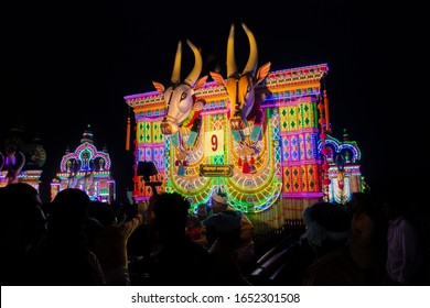 Devotees parade huge bullock effigies as part of a ritual during the Vilangottu kavu Bhagavathi Temple Festival on March 10, 2019 in Karinganadu, Palakkad District, Kerala, India.