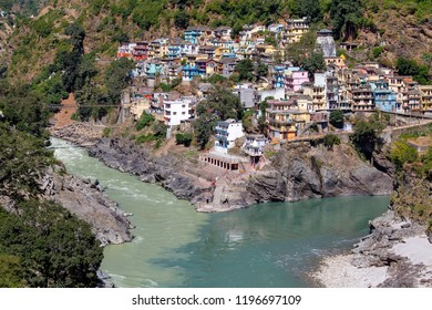 DEVPRAYAG, INDIA - OCTOBER 13, 2014 : Devprayag of Uttarakhand, is one of Panch Prayag, five confluences, of Alaknanda River where Alaknanda and Bhagirathi rivers meet and take the name Ganges River