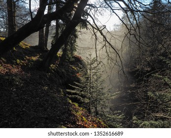 Dew over the waterfall.  Alyth, Blairgowrie, Scotland - February 15, 2019 Water fog over the Reekie Linn waterfall in Scotland.