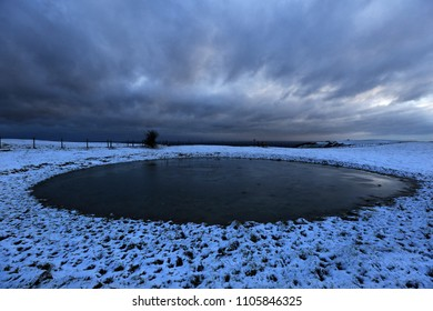 The Dew Pond on Ditchling Beacon, Sussex, on a winter morning