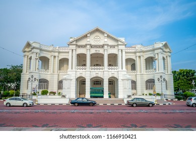"""Dewan bandaran Ipoh, the Malay words over the entrance mean """"Ipoh Town Hall"""""""