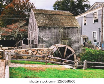 The Dexter Grist Mill (the oldest mill on Cape Cod) exterior located in New England Sandwich, Massachusetts, United States.