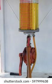 deytail of petrol gas gasoline pump station in Lombok Indonesia