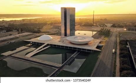 Brasília, DF, Brazil - April, 4th, 2019.   Congresso Nacional in Brasilia during sunrise
