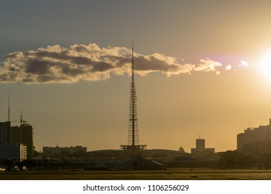 Brasília, DF, Brazil. Photograph of Brasilia TV Tower on may, 2018 during a sunset with some clouds. The structure of television transmission built in Brasilia and inaugurated in 1967