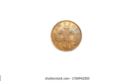D.G..REG.F.D.1977 2 Queen Elizabeth New Pence Coin Back Side Isolated on White Background