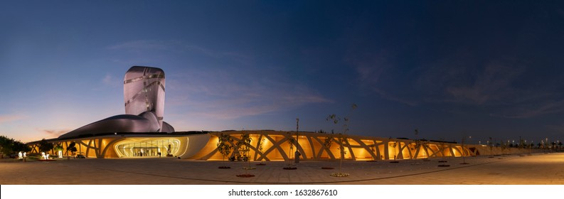 Dhahran, Saudi Arabia, January 29 2020. The King Abdulaziz Center for World Culture (Also known as Ithra) is an iconic building symbolising modernisation and diversity in modern Saudi Arabia.