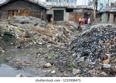 Dhaka, Bangladesh - April 04, 2016: Wastage toxic lather materials dumped in an open canal at the Hazaribagh tannery area in Dhaka, Bangladesh on  April 04, 2016.