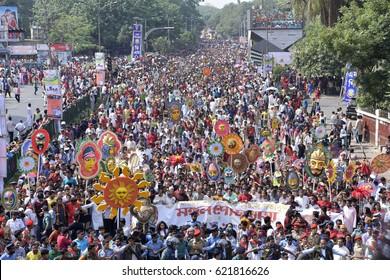 DHAKA, BANGLADESH - APRIL 14, 2017: Bangladeshi people attend a rally in celebration of the Bengali New Year or Pohela Boishakh in Dhaka, Bangladesh on April 14, 2017.