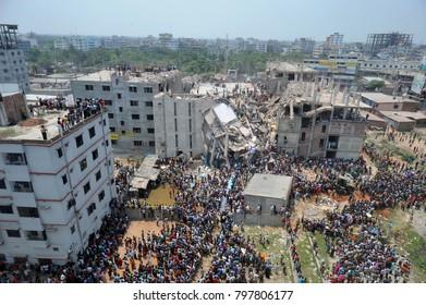 DHAKA, BANGLADESH - APRIL 24, 2013: A top view of Rana plaza building which collapse at Savar, near Dhaka, Bangladesh April 24, 2013.