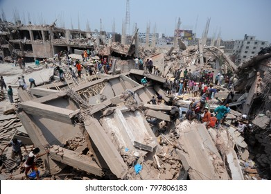 DHAKA, BANGLADESH - APRIL 24, 2013: A top view of Rana plaza building which collapse at Savar, near Dhaka, Bangladesh April 24, 2013.