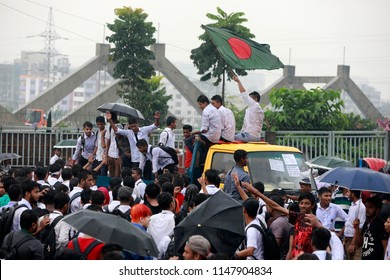Dhaka, Bangladesh - August 02, 2018: A group of students gather and demonstration block traffic at Rampura intersection in Dhaka demanding safe roads, Dhaka Bangladesh on August 02, 2018.