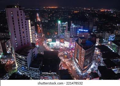 DHAKA, BANGLADESH- AUGUST 29: The aerial view on Dhaka city center, Gulshan on August 29,2014.