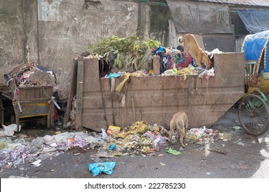 DHAKA, BANGLADESH -AUGUST 30: The garbage container in Dhaka on August 30, 2014. The improvement of current waste collection system is considered as one of the most important problem in Dhaka.