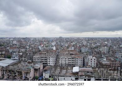 DHAKA, BANGLADESH - AUGUST 30:The aerial view of Dhaka city on August 30, 2014.