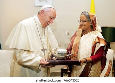 Dhaka, BANGLADESH - DECEMBER 01, 2017: Prime Minister Sheikh Hasina has met the head of the Roman Catholic Church Pope Francis in Dhaka, Bangladesh on December 01, 2017.