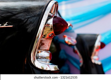 Dhaka, Bangladesh. February 21, 2019. Rear indicator lights of 1956 Chevrolet Station Wagon. Business men had a choice with 2 1956 Chevrolet Handyman models. Now it's a vintage car.