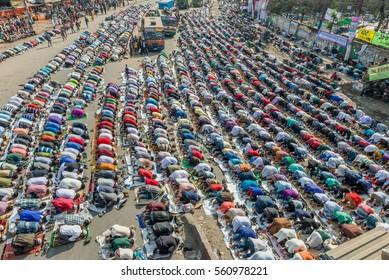 Dhaka, Bangladesh - January 13, 2017: Unindentified muslims are attending biswa ijtema at Tongi, dhaka, Bangladesh.