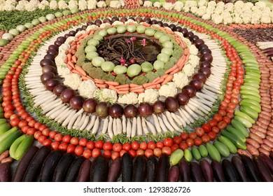 DHAKA, BANGLADESH - JANUARY 24, 2019: A three days long organic vegetables fair at khamarbari in Dhaka, Bangladesh. The vegetables fair is organized by agriculture ministry of Bangladesh on January 24