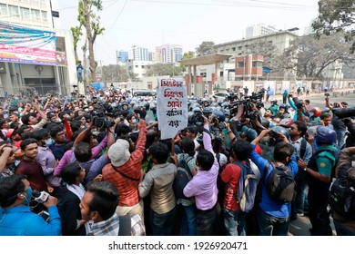 Dhaka, Bangladesh - March 01, 2021: Police block Abdul Gani Road as Students Alliance marches from Dhaka University to surround the Home Ministry in protest of the repeal of the Digital Security Act.