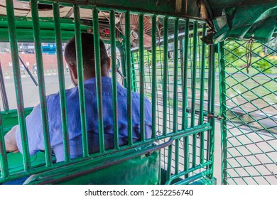 DHAKA, BANGLADESH - NOVEMBER 2, 2016: Interior of CNG (local name for autorickshaw in Bangladesh) in Dhaka.