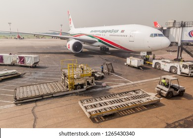 DHAKA, BANGLADESH - NOVEMBER 23, 2016: Airplane of Biman Bangladesh Airlines at Shahjalal International Airport  in Dhaka, Bangladesh