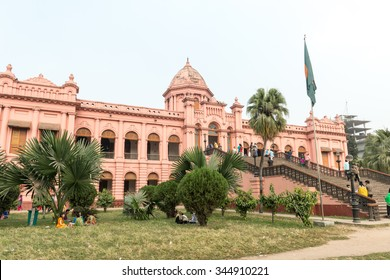 Dhaka, Bangladesh - November 28, 2015: Ahsan Manzil, what is called Pink Palace in Bangladesh. Ahsan Manzil was the official residential palace and seat of the Dhaka Nawab Family.