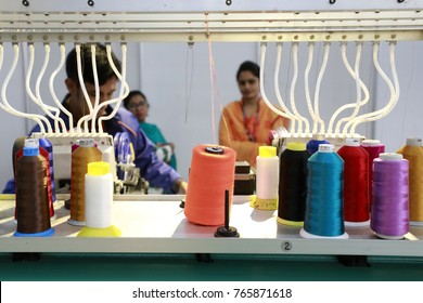 Dhaka, BANGLADESH - NOVEMBER 30, 2017: Readymade garments product buyers and sellers visit Bangladesh International Garments Textile Expo at Bashundhara International Convention City in Dhaka.