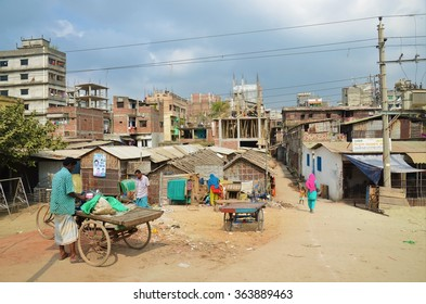 DHAKA, BANGLADESH - NOVEMBER 9: The normal life of locals people in a poor residential area on November, 9, 2014 in Dhaka, Bangladesh