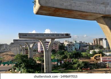 Dhaka, Bangladesh - September 06, 2019: The elevated way for metro rail construction site at Dhaka in Bangladesh on September 06, 2019.