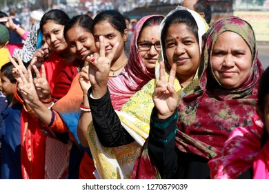 Dhaka, Bangladesh-December 30, 2018: 11th parliament election of Bangladesh, Voters are seen waiting to exercise their franchise at kamlapur government primary school Centre polling centre in Dhaka.